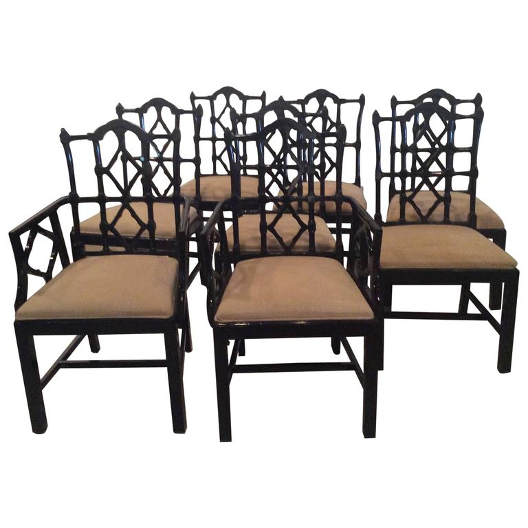 Chinese Chippendale Dining Chairs Vintage Set Of Ten 10 Fretwork Made In  Spain 1