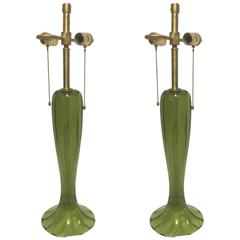 Gorgeous Pair of Candy Apple Green Murano Art Glass Trumpet Lamps