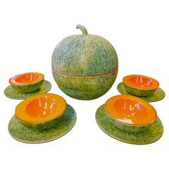 Complete Set of Ed Langbein Italian Mid-Century Cantaloupe Serving Dishes