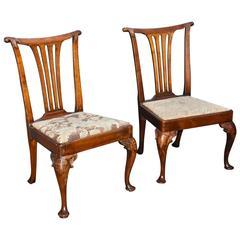Pair of Fine Period Irish George II Walnut Chairs of Great Proportion