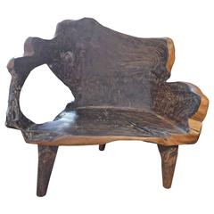 Single Burnt Teak Wood Organic Bench