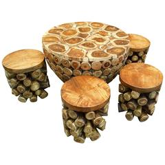 """Unique Teak Root """"Drum"""" Set of Table and Four Stools"""