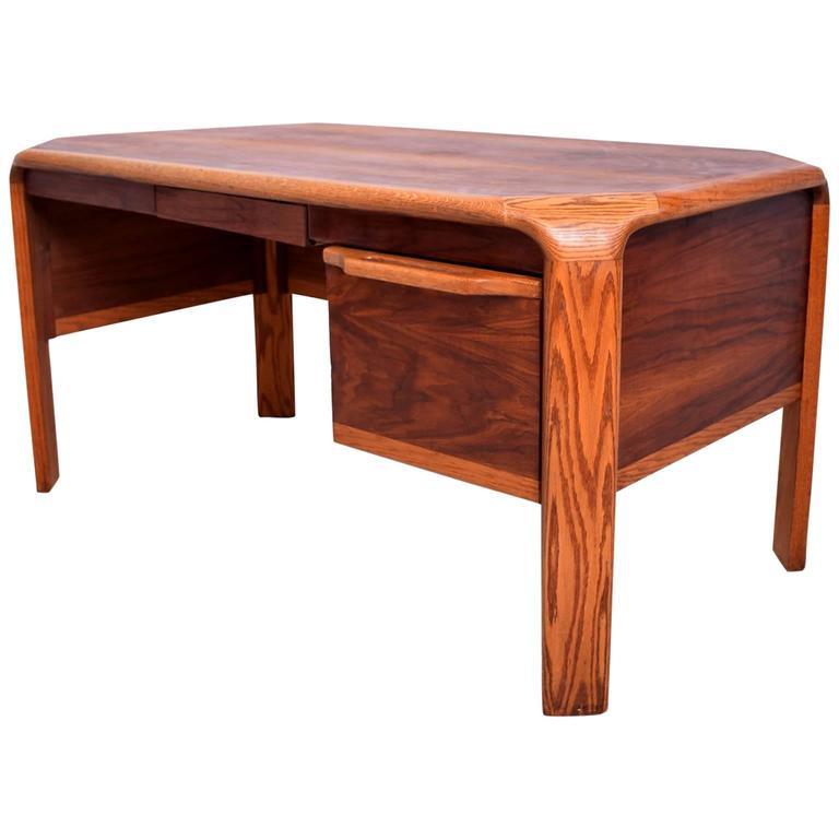 Lou Hodges Mid Century Modern Desk Walnut And Oak For
