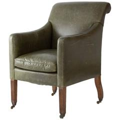 English Regency Mahogany and Leather Bergere Chair