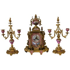 19th Century French Sevres Porcelain Clock Set