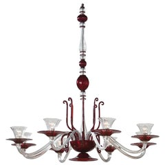 Napoleone Martinuzzi for Venini, Large Ruby and Colorless Glass Chandelier