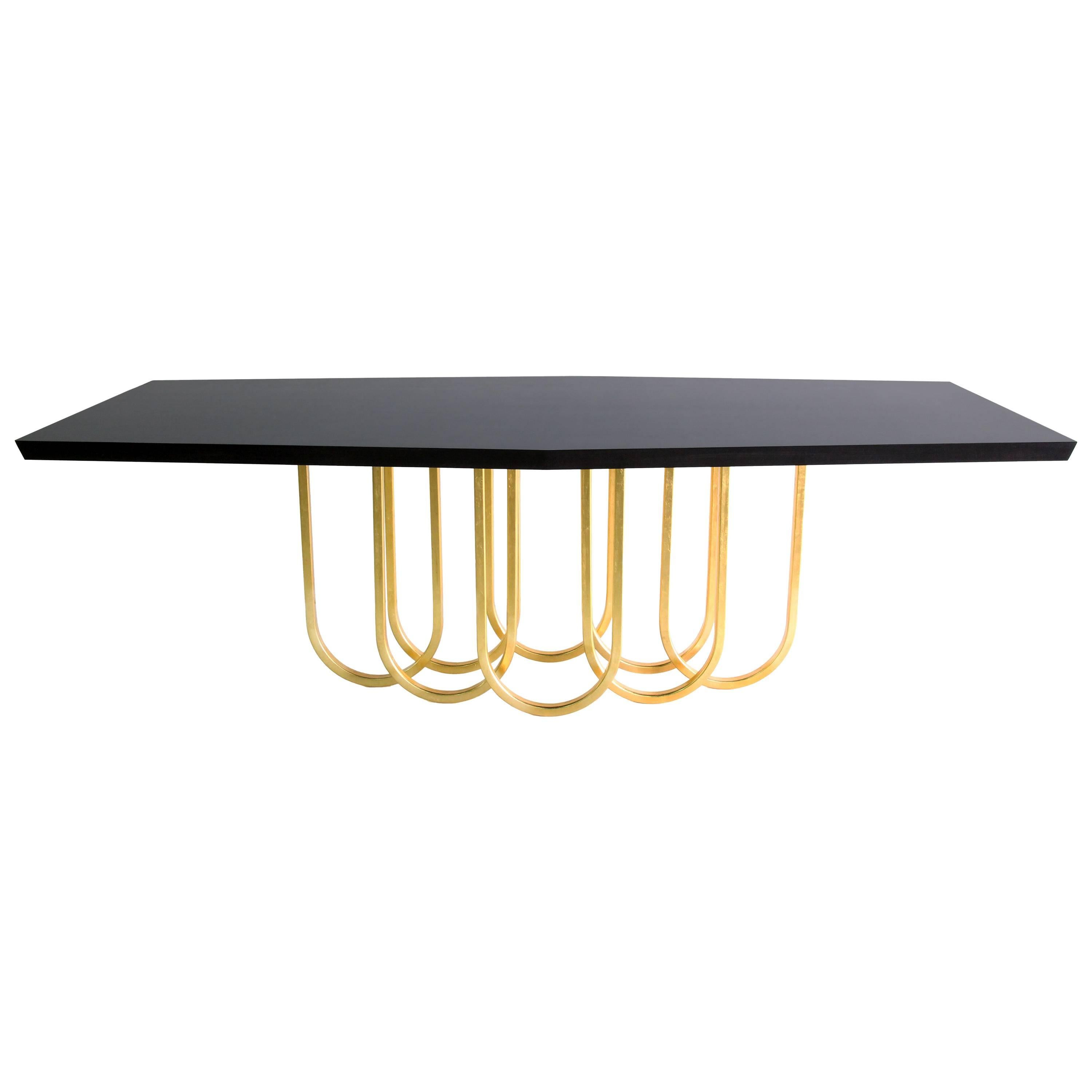 """Contemporary Black and Gold """"Lily"""" Dining Table by Alex Drew and No One, 2016"""