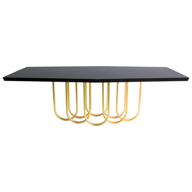 """Contemporary Black and Gold """"Lily"""" Dining Table by Alex Drew and No One, 2016 For Sale"""
