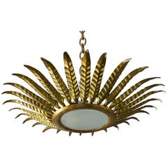 Spanish Gilt Metal Sunburst Ceiling Fixture with Leaf Decoration