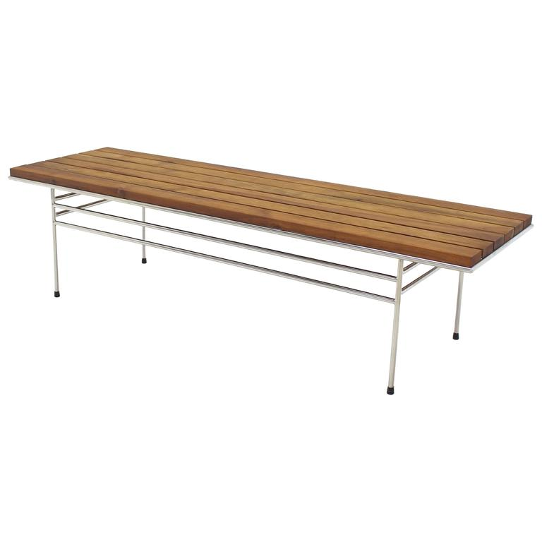 Solid Oiled Slat Wood Top Chrome Bench
