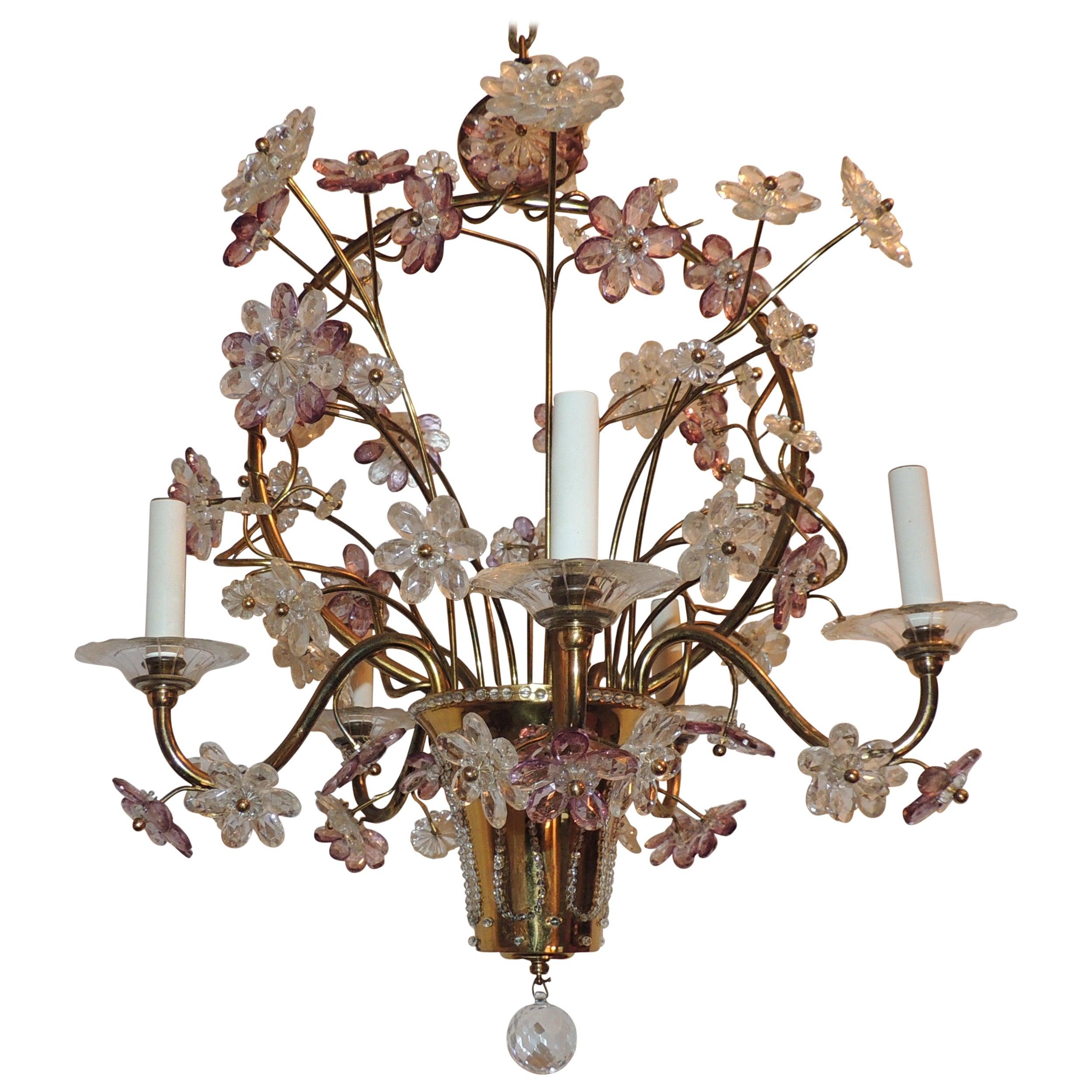 Wonderful Gilt Bronze Chandelier Beaded Basket Amethyst Crystal Flowers Fixture