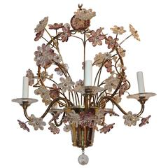 Wonderful Gilt Bronze Chandelier Beaded Basket Amethyst Crystal Flowers Fixture