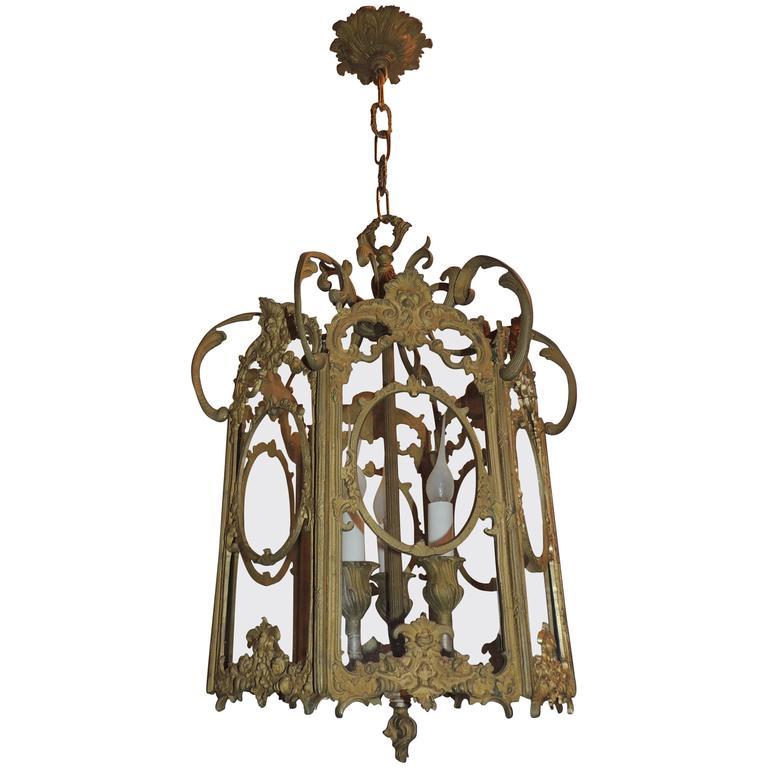 French Filigree Gilt Doré Bronze Hexagon Glass Lantern Three-Light Fixture