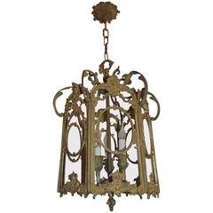 French Filigree Gilt Doré Bronze Hexagon Glass Lantern Three-Light Fixture