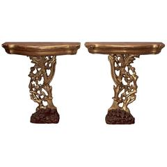Pair 19th Century Italian Giltwood Hand Carved Grapevine Consoles, Circa 1890's