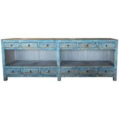 Antique Sea Blue 12-Drawer Open Sideboard Table