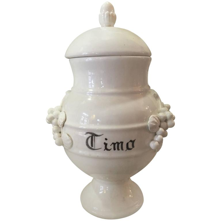 French Porcelain Apothecary Jars with Lids