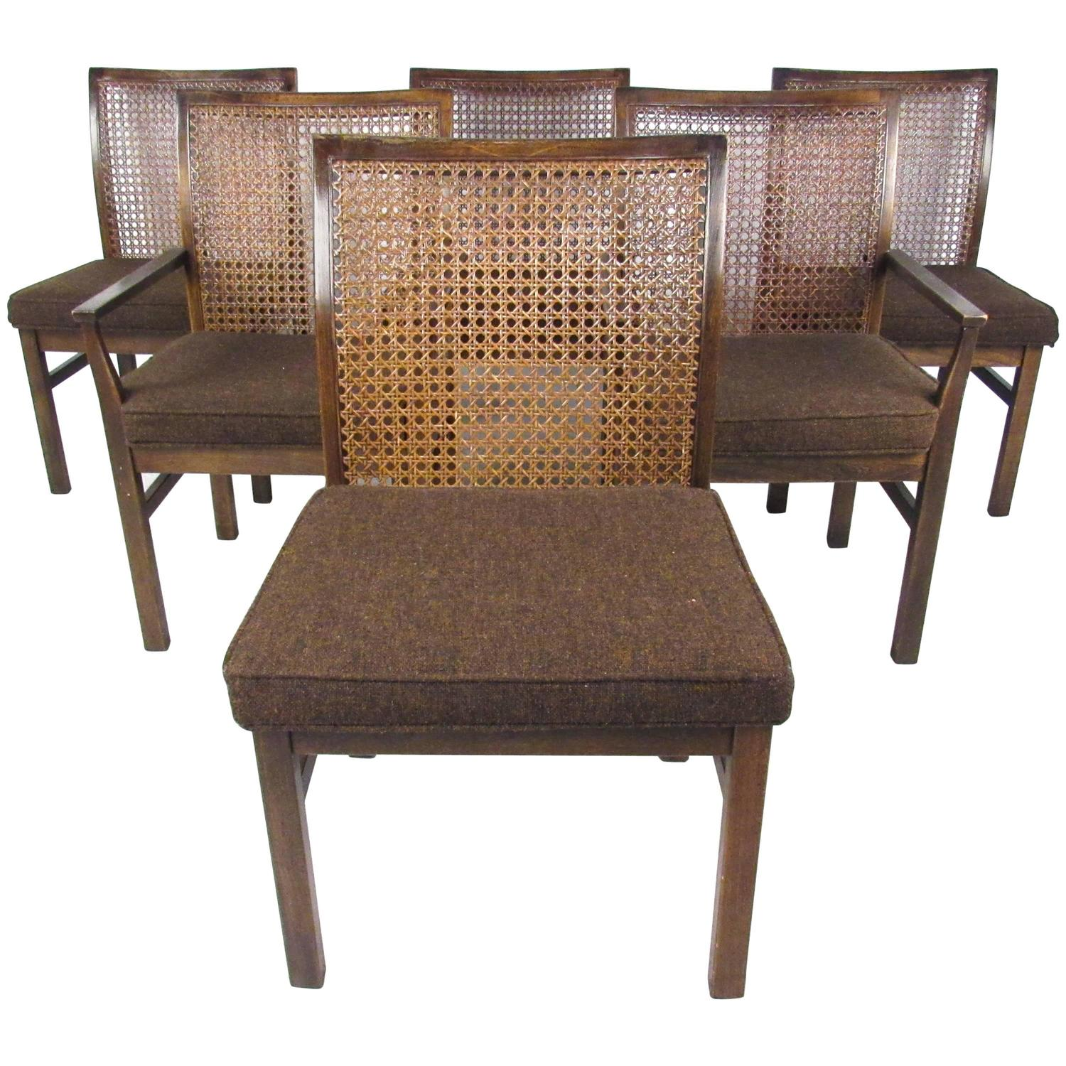 Set of Six Mid Century Modern Cane Back Dining Chairs by Lane For