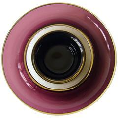 Venini Aubergine Murano Glass Double Bowl