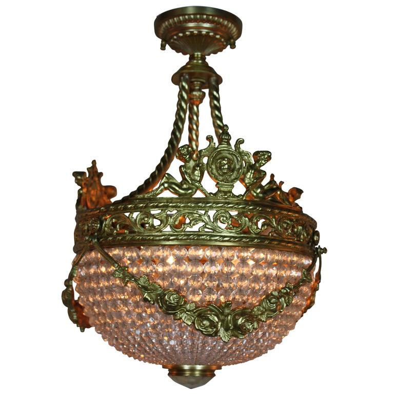 Spanish Crystal Basket And Bronze Chandelier For Sale At