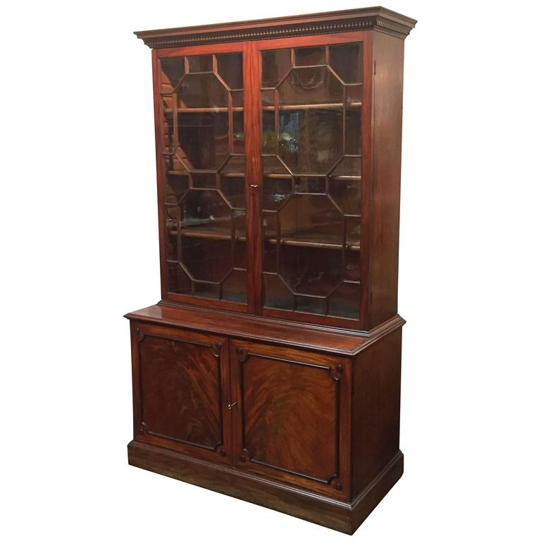 Large English Bookcase of Mahogany For Sale