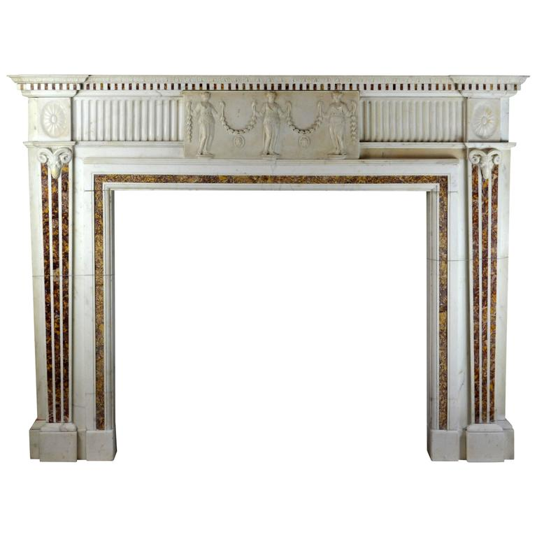 18th Century Georgian Mantel with Brocatella Inlays and Fine Carving 'GEO-ZE54'