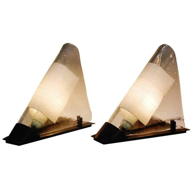 Pair of Postmodern Murano Glass White-Rod Bedside Table Lamps by Venini