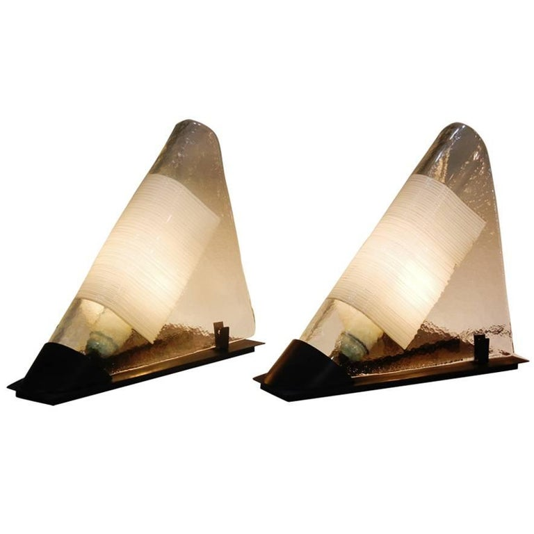 Pair of Postmodern Murano Glass White-Rod Bedside Table Lamps by Venini For Sale