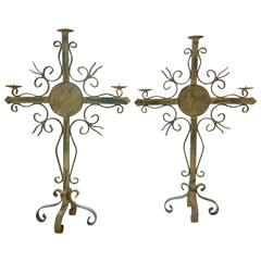 Pair of Gothic Revival Wrought Iron Candelabra, Weathered Patina, Quebec, 1880