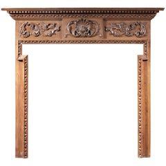 English Carved Pine Fireplace