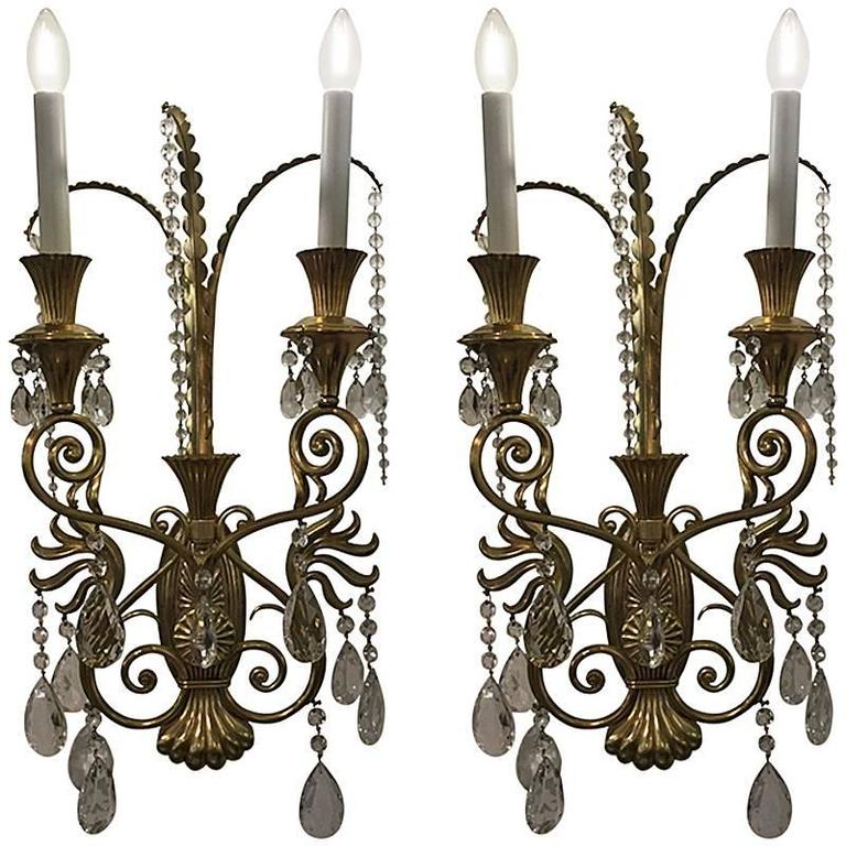 Decorative Crystal Wall Sconces : Pair of Monumental Italian Decorative Wall Lights with Cut Crystal Drops For Sale at 1stdibs
