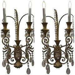 Pair of Monumental Italian Decorative Wall Lights with Cut Crystal Drops