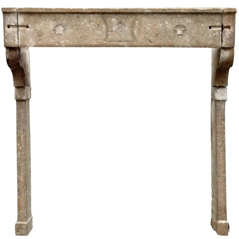 Large 18th Century French Louis XVI Stone Fireplace