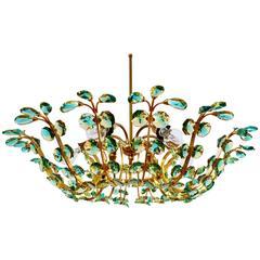 Floral Lobmeyr Vienna Brass Crystal Chandelier, Austria, 1950s