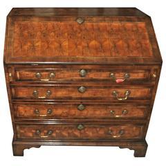 18th Century English Oyster Walnut Secretary or Bureau