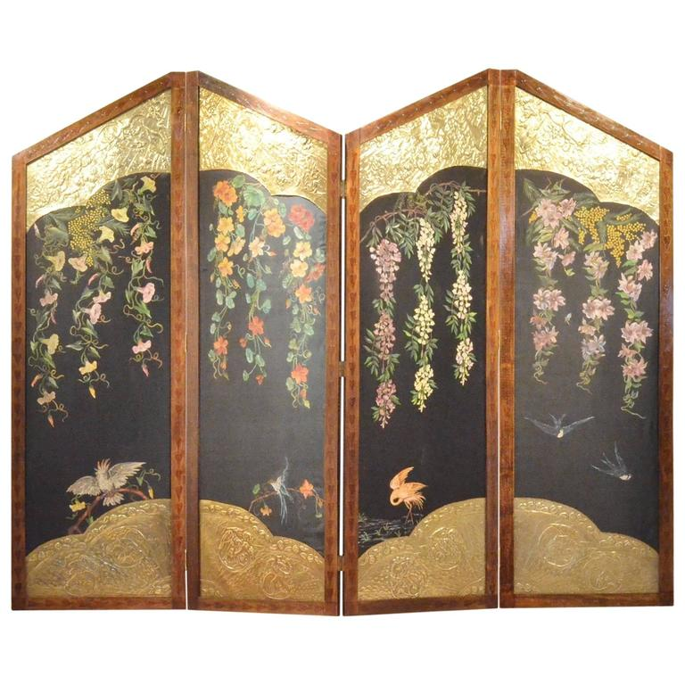 French Art Nouveau Paravan Room Divider Screen Paul Poiret