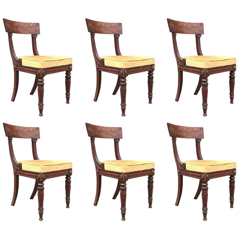 set of six regency antique chairs by james winter of london england