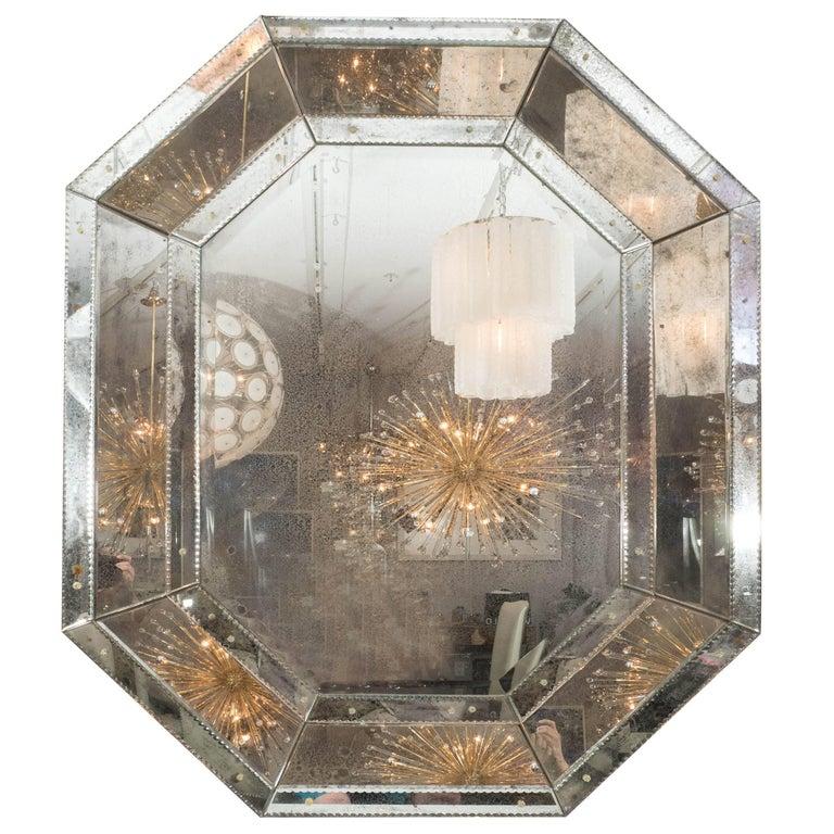 Custom Antiqued Octagon Mirror For Sale