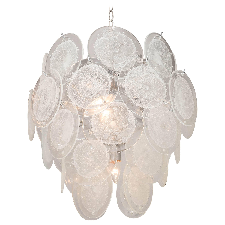 Clear Pulegoso Murano Glass Disc Chandelier