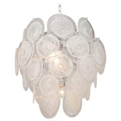 Clear Pulegoso Murano Glass Disc Chandelier