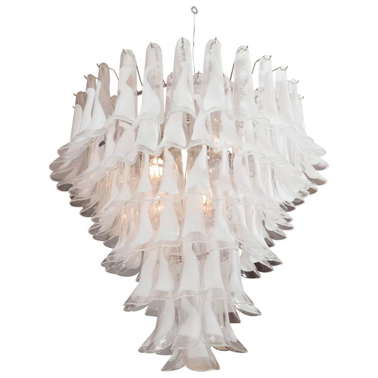 Huge Mazzega White and Clear Glass Petal Chandelier For Sale