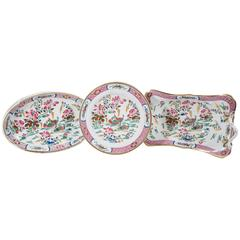 16 Pink Antique Porcelain Dishes in the Mandarin Ducks Pattern