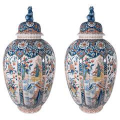 Pair of Massive Dutch Delft Polychrome Covered Vases