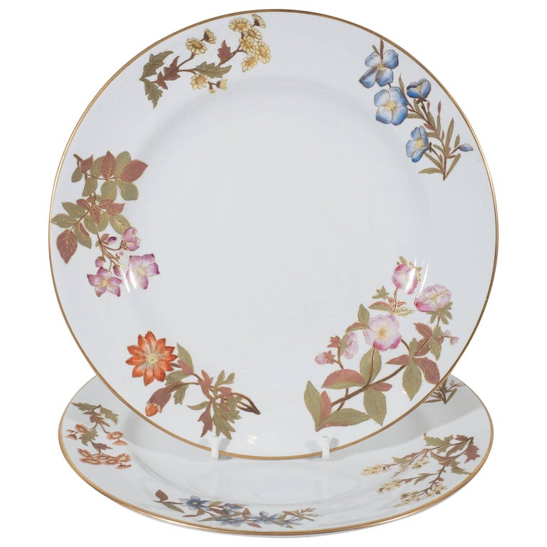 Antique Royal Worcester Porcelain Dishes Made in England circa 1877 For Sale