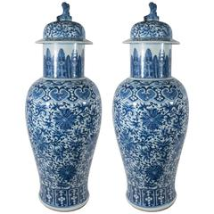 Pair of Antique Chinese Blue and White Porcelain Temple Vases