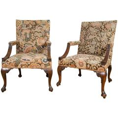 Handsome Pair of George III Mahogany Carved Library Armchairs