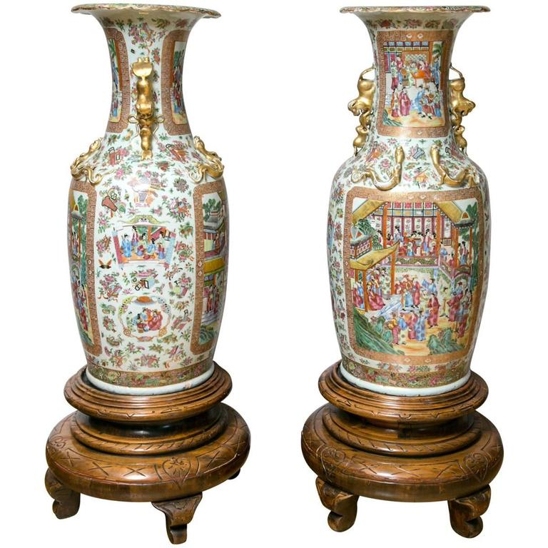Pair of Large 19th Century Chinese Cantonese Floor Vases on Carved Wood Stands For Sale