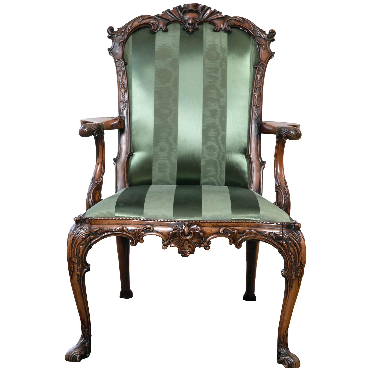 English Rococo Revival Carved Mahogany Armchair For Sale at 1stdibs