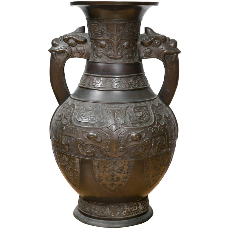 Large Chinese Archaistic Black Patina Bronze Altar Vase For Sale