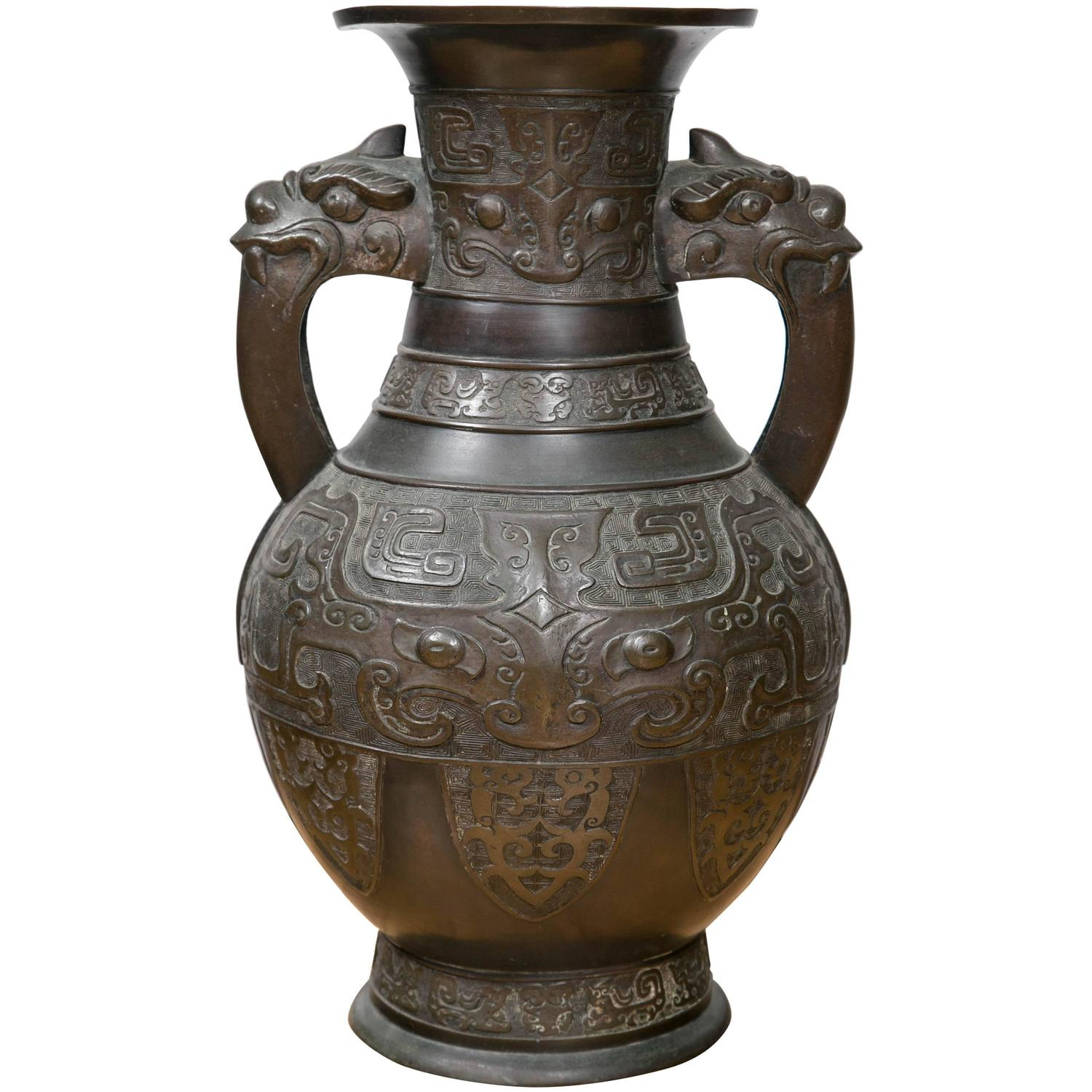 Large chinese archaistic black patina bronze vase for sale at 1stdibs reviewsmspy